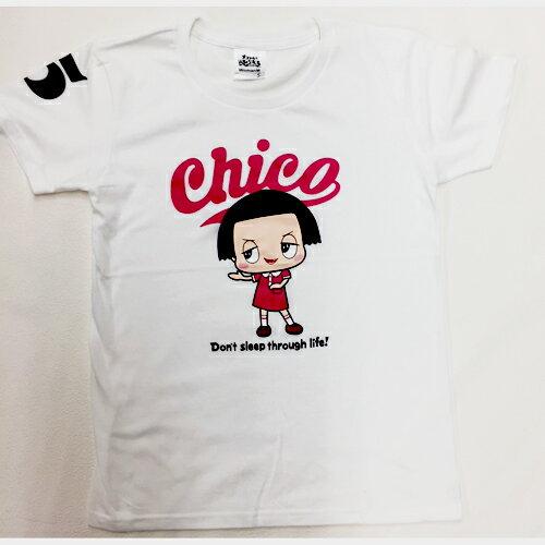 チコちゃん Tシャツ Lホワイトピンク ロゴ