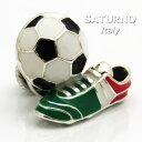 【当店通常価格16500円】ラペルピン イタリアンカラーのサッカーボール&シューズ サツルノ社 イタリア製