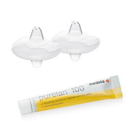 【正規品】メデラ NEWニップルシールド 2枚入り + ピュアレーンクリーム1本セット(medela PureLan100) 乳頭保護器 さく乳器