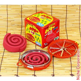 富士錦パワー森林香(赤函)30巻入&携帯防虫器セット蚊取り線香ホルダーアウトドア用品