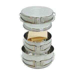 ステンレス クッカーセット 4点 ソロキャンプ アウトドア 食器セット BBQ バーベキュー クッキング フライパン 皿 鍋
