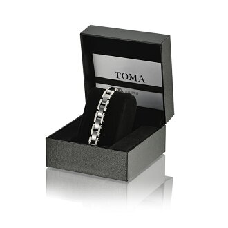 TOMA 14F, ladies Black ceramic B diamond magnetic bracelet silver