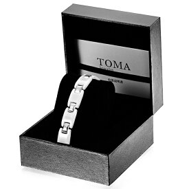 TOMA8M 男性 白セラミックス 磁気ブレスレット シルバー 保証書付き