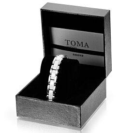 TOMA 10M・10F 男性or女性 白セラミックス 磁気ブレスレット シルバー 保証書付き