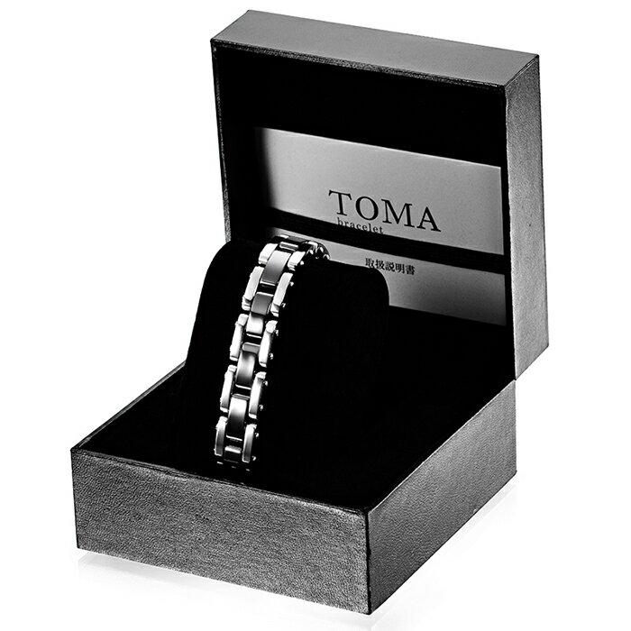 TOMA 12M・12F 男性or女性 黒セラミックス 磁気ブレスレット シルバー 保証書付き