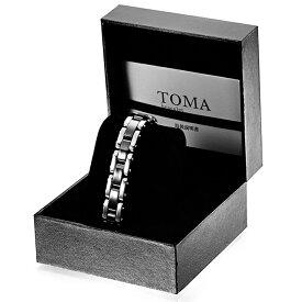 TOMA12M・12F 男性or女性 黒セラミックス 磁気ブレスレット シルバー 保証書付き
