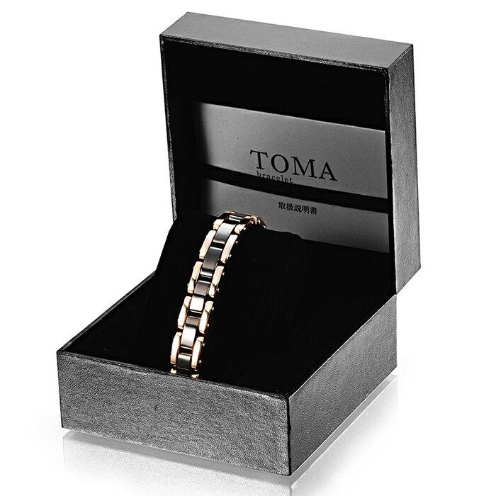 TOMA 13M・13F 男性or女性 黒セラミックス 磁気ブレスレット ピンク 保証書付き