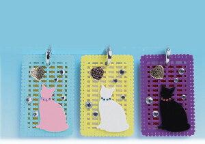 アクリル パスケース IDケース ICカードケース ネームホルダー カードケース ネコ&ハート ギフト 誕生日 お祝い プレゼント オシャレ おしゃれ レディース カワイイ 可愛い かわいい 通勤 通