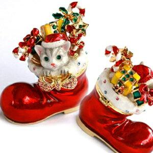 A453■送料無料【可愛いネコちゃんプレゼントクリスマスブーツ ジュエリーボックス】エナメルボックス猫の置物宝石箱CATネコジュエリーボックスねこ猫の置物ピィアースモモのクリスマス
