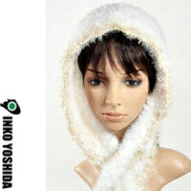 風 KAZE【真知子巻きフード 猫シリーズ】オーダー品100-o  ターキッシュアンゴラ(白)マフラー一体型INKO YOSHIDAブランドのニット帽子・ハット帽子 森ガールにも大人気