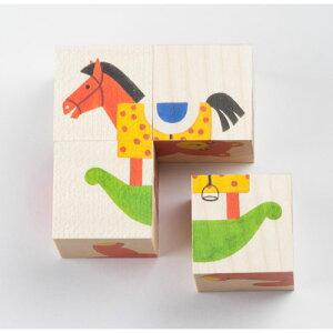 アトリエフィッシャー 六面体パズル・4pcs・ミックス 知育玩具 3歳 4歳 5歳 キューブパズル 幼児 木製 子供 誕生日プレゼント 誕生日 男の子 男 女の子 女 三歳 四歳 五歳 パズル キューブ おも