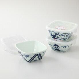 西海陶器 波佐見焼 染付紋 角パック鉢トリオ 3個セット お皿 磁器 国産 日本製 食器 瀬戸物 陶器 焼き物 おしゃれ ギフト プレゼント お祝い