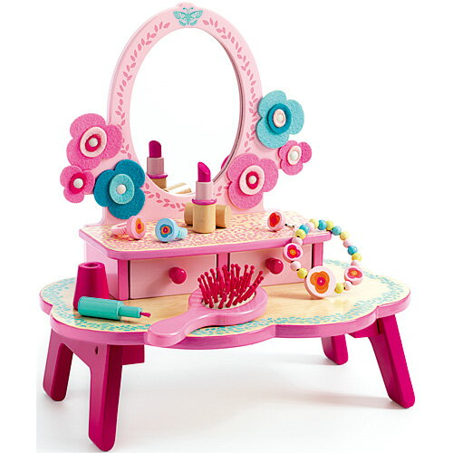 DJECO フローラ ドレッシングテーブル おままごと おもちゃ ままごと ままごとセット 女の子 4歳 5歳 子供 木のおもちゃ 木製 誕生日プレゼント オモチャ 幼児 メイクセット お化粧 ごっこ遊び 誕生日 おままごとセット アクセサリー