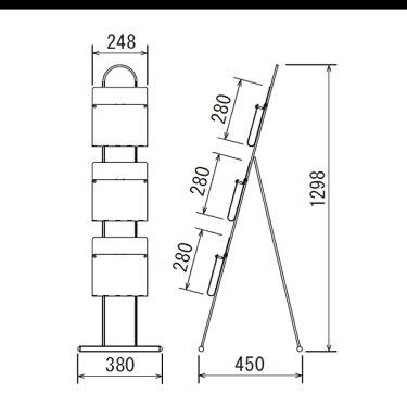 パンフレットスタンドA4×3段2507受付待合室ロビーに個人宅不可要法人名(選べるカラー)