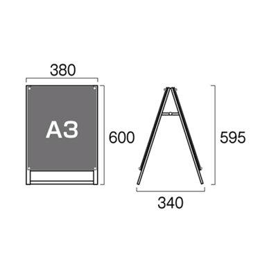 ポスター用スタンド看板A3縦両面PSSK-A3TRWポスタースタンドA型看板店舗看板(ホワイト)