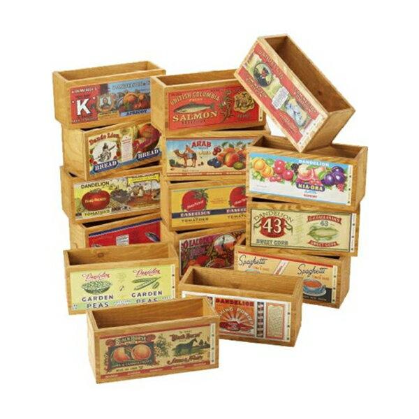 オールドデザインラベル木箱2 S #50173 インテリア ディスプレイ 木製 ボックス  (選べる図柄)