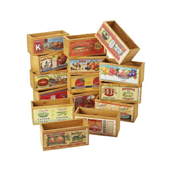 オールドデザインラベル木箱2 L #50174 インテリア ディスプレイ 木製 ボックス  (選べる図柄)