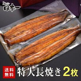 【送料無料】国産うなぎ 特大長焼き2枚セット/お中元 丑の日 お祝い 手土産 ギフト お取り寄せ 鰻 ウナギ ひつまぶし うな重 スタミナ