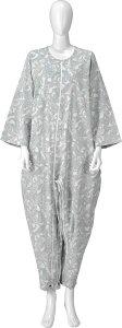 【竹虎ヒューマンケア】フドーねまき3型 スリーシーズン パールブルー S 介護用つなぎ型パジャマ 介護ねまき 寝間着 つなぎ服 寝たきり 上下つなぎ 上下つづき ろうべん 弄便 いたずら