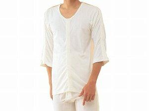 【神戸生絲】紳士前開きシャツ 両肩腕開き7分袖(No.7)LLコベス 男性 肌着 医療 介護 お年寄り 高齢者