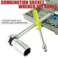 コンビネーションレンチセット 40PCS レンチセット 31種のソケットで整備、修理に便利 レンチ