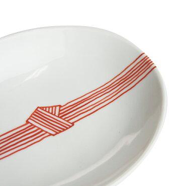 日下華子九谷焼赤絵帯締め楕円浅鉢