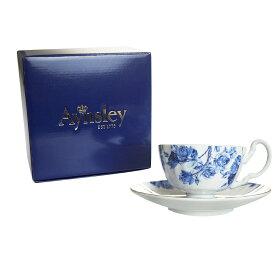 エインズレイ (Aynsley) エリザベスローズ ブルー ティーカップ&ソーサー オーバン