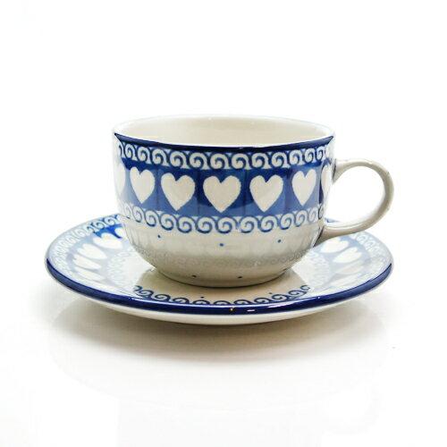 ブンツラウカステル (Bunzlau Castle) ホワイトバレンタイン カップ&ソーサー 1768 【ポーリッシュポタリー ポーランド食器】