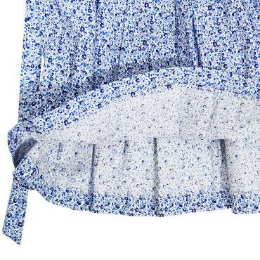エコベベ・パリ(eccobebeParis)スモッキング刺繍花柄ノースリーブワンピースブルーフラワー[6歳〜7歳用][一点物][フランス正規輸入品]