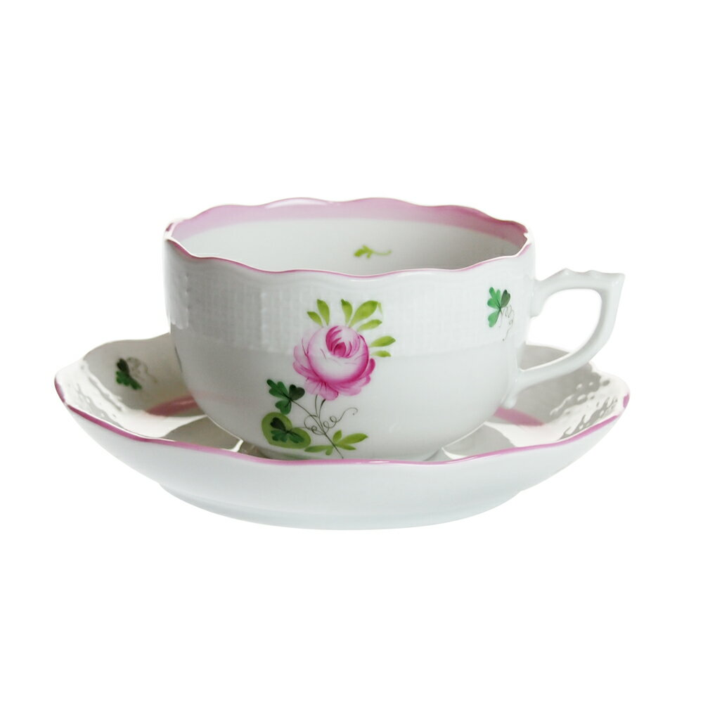 ヘレンド (HEREND) VRHX4 ウィーンのバラ ピンク ティー カップ&ソーサー 724【あす楽対応】