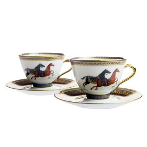 エルメス (HERMES) シュヴァルドリアン (オリエントの馬) ティーカップ&ソーサー ペア 9816