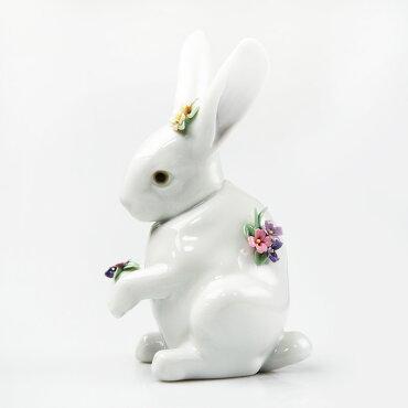 リヤドロ(LLADRO)人形花飾りの白うさぎ[4]6100