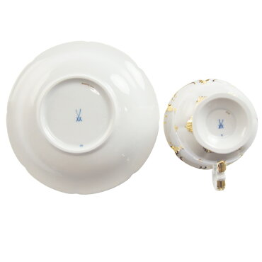 マイセン(Meissen)金彩小花白ゴールドラインコーヒーカップ&ソーサー999979/15582