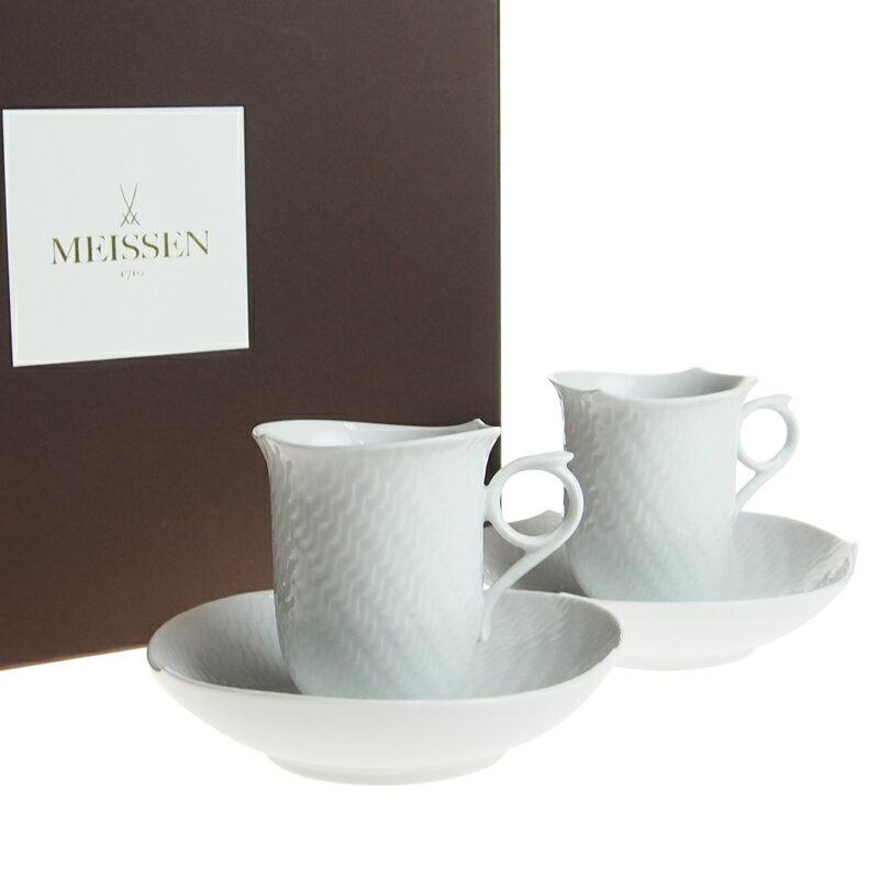 マイセン (Meissen) 波の戯れホワイト コーヒーカップ&ソーサー ペア C2908