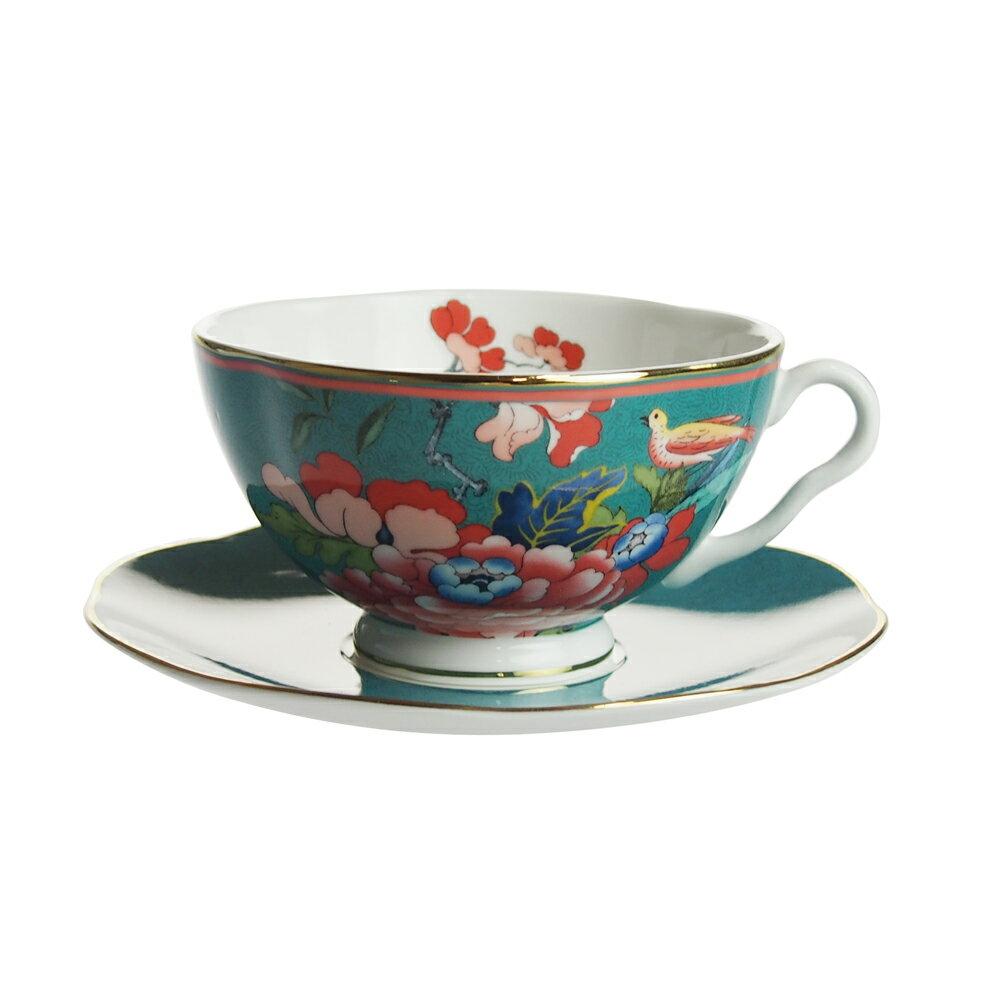 ウェッジウッド (WEDGWOOD) ペオニア ブラッシュ ティーカップ&ソーサー グリーン
