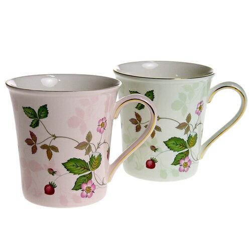 ウェッジウッド ワイルドストロベリー パステルビーカー マグカップ グリーン&ピンク カップル セット