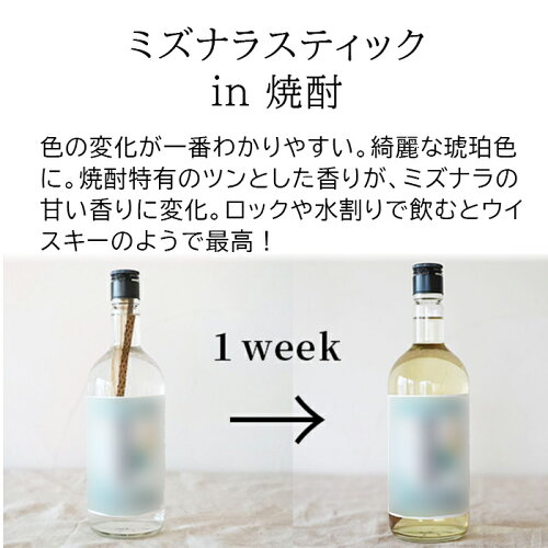 ミズナラスティックを日本酒へ入れる