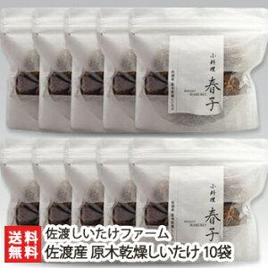 新潟 佐渡産 原木乾燥しいたけ 10袋(1袋あたり80g)佐渡しいたけファーム【椎茸/シイタケ/きのこ/キノコ/茸/自然栽培/乾物】【送料無料】