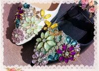 スニーカーレディース【オーダーメイド手作り】シューズレディース靴ウェディングシューズ結婚式女の子女性厚底美足・美脚ハイカットホワイトリボン付き花柄