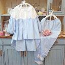 パジャマ 春夏パジャマ 長袖 レディース 女性用  ナイトウェア ルームウェア 2点セット 上下セット 寝間着 部屋着  セットアップ 長パンツ ブルー レース