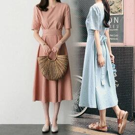 夏ワンピース 綿麻 ワンピース 韓国ファッション マキシワンピース プリーツ スカート マキシスカート ボディラインがキレイに見える美シルエットフレアワンピース