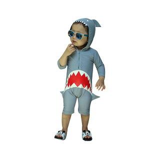 送料無料 水着 女の子 男の子 キッズ 子供服 サメ柄 サロペット 長袖 ロンパース 帽子付き オールインワンプール ビーチ 夏 海水浴 練習用 ベビー