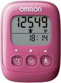 在庫あります オムロン(OMRON) 歩数計 ピンク HJ-325-PK 4975479409370 万歩計 健康 字が大きい 見やすい ポケット バッグ 首からさげる 簡単 おすすめ ダイエット ウォーキング 計測 赤紫 パープル
