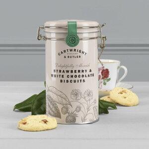 カートライトアンドバトラー ストロベリー&ホワイトチョコレート・ビスケット 5060301881314 いちご イチゴ 苺 缶 かわいい 可愛い イギリス 輸入 クッキー 焼き菓子 おいしい おすすめ ギフト