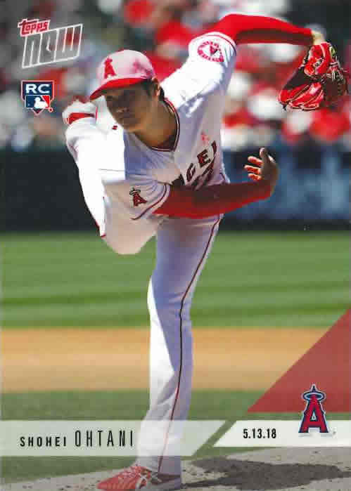 2018 TOPPS NOW #210 大谷翔平 PHENOM Ks SETS ANGELS RECORD WITH 43 Ks THROUGH 6 OUTINGS