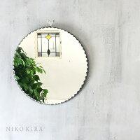 鏡ミラーおしゃれ壁掛けウォール壁掛けミラーメイクメイク鏡化粧鏡かがみ北欧玄関リビング寝室インテリア洗面トイレシンプルモダン上品エレガントスタイリッシュノンフレーム円円型丸形まるウォールミラー