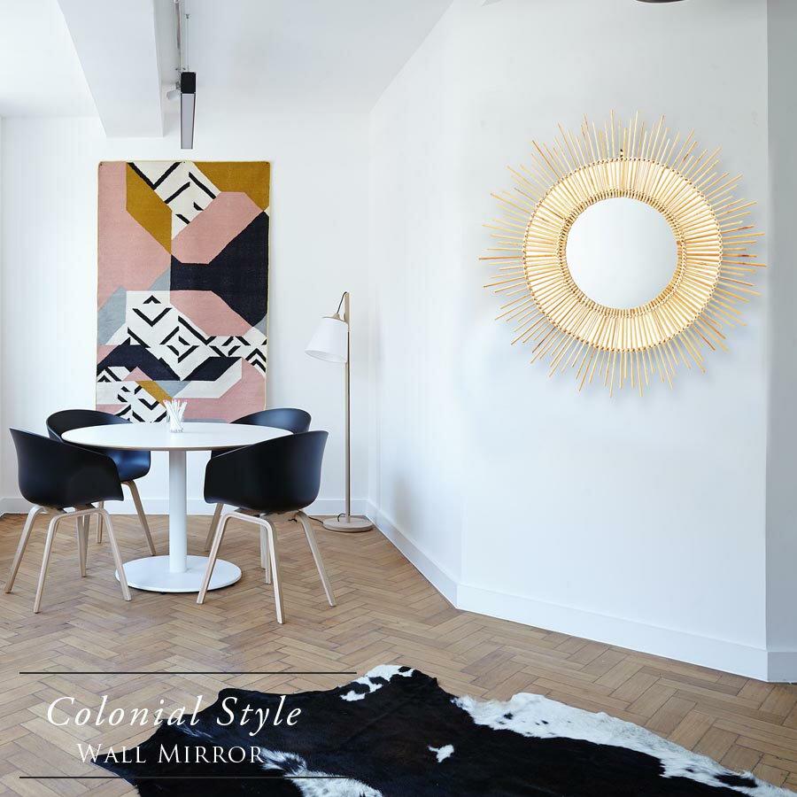 鏡 ミラー おしゃれ 壁掛け ウォール 壁掛けミラー ウォールミラー 北欧 インテリア オブジェ かがみ 玄関 リビング トイレ ナチュラル シンプル 円形 丸型 円 丸 太陽 サン かわいい 天然 バンブー コロニー コロニアル ハンドメイド 手作り