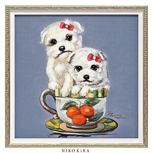 おしゃれ 絵画 かわいい アート 絵 インテリア モダン 壁掛け 犬 猫 いぬ ネコ カラフル 風景画 油絵 おしゃれ オイル ペイント アート 「 ツー パピー イン カップ Sサイズ 」 幅33cm 高さ33cm ア