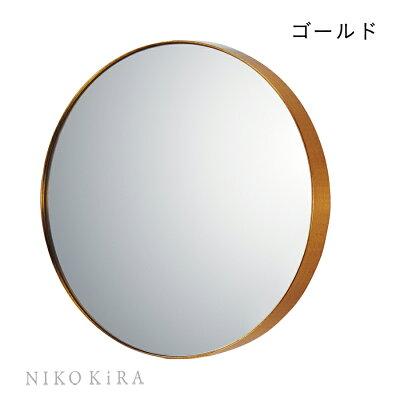 鏡ミラーおしゃれ壁掛けウォール北欧シンプル円形まる丸形風水開運アップ玄関インテリア洗面トイレモダンエレガントフレンチドレッサーリビング一人暮らし金色新築祝スリムラインミラーゴールドMサイズ