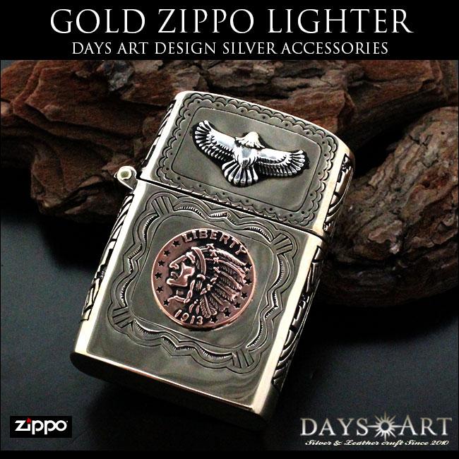 Zippoライター イーグル ネイティブアメリカン インディアン 真鍮無垢 ブラス製デザインアーマ good vibrations【あす楽】zp009-gd